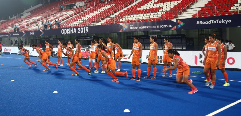 Probables among Senior Women Hockey Team in Fitness drill at National Camp