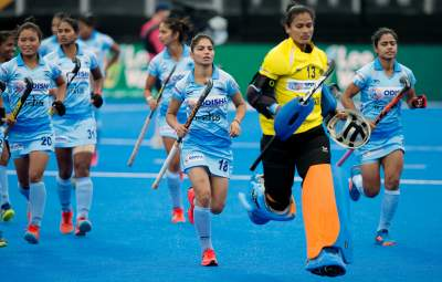 Senior Indian Women Hockey players n Goalkeeper in Running Drill