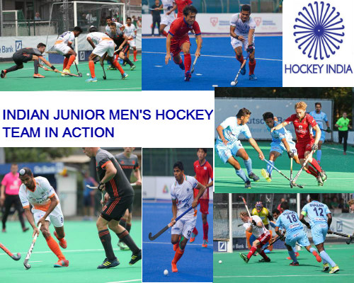 Collage-of-indian-junior-men's-hockey-team-in-action-with-a-logo-of-hockey-india