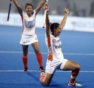 Indian Women's Hockey Captain Rani Rampal celebrates a goal