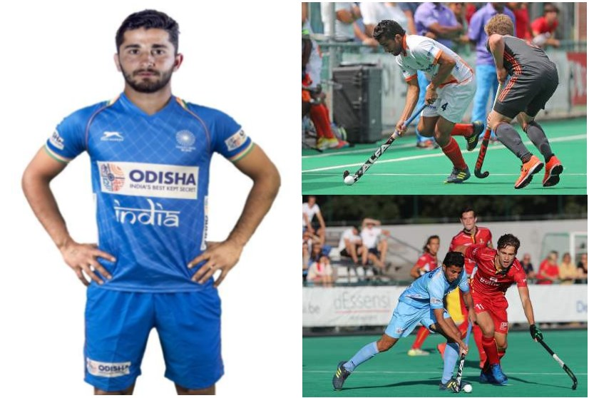 Collage-of-Hockey-player-Mandeep-Mor-with-a-Profile-pic-and-two-pics-in-action