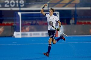French-Hockey-player-Thimothee-Clement-exuberating-after-scoring-goal