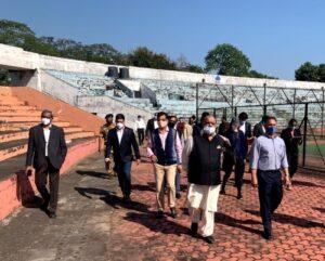 Dr-Narinder-Dhruv-Batra-inscpecting-preparations-for-hockey-tournament