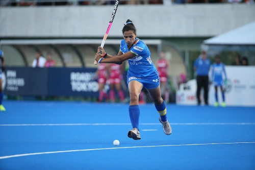Indian-women's-hockey-team-player-about-to-strike-the-ball