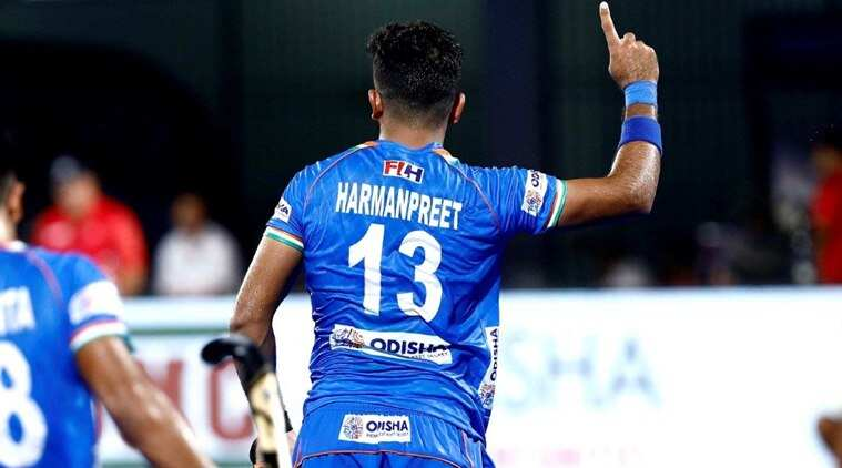 indian-hockey-player-harmanpreet-singh-celebrating-goal-with-hand-and-index-finger--raised-to sky
