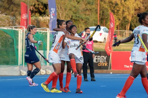 Indian-women-hockey-team-celebrate-Deepikas-equalising-goal-