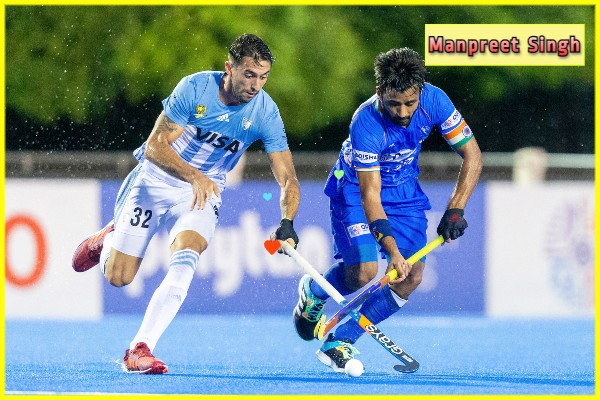 Indian-Men's-Hockey-Team-captain-Manpreet-dribbling-in-match